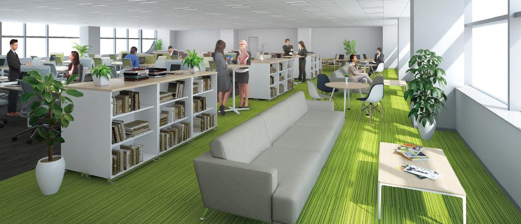 柱を全て壁面に配置した無柱空間は、開放的かつ柔軟性に富んだオフィスペースを実現。 ビジネスの生産性を高め、企業をさらに前進させます。